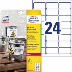 Etykiety Heavy Duty Avery Zweckform A4, 20 ark./op., 63,5 x 33,9 mm, białe, poliestrowe