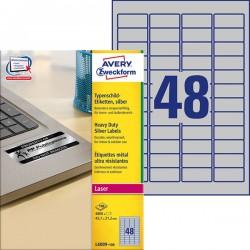 Etykiety znamionowe srebrne Avery Zweckform A4, 100 ark./op., 45,7 x 21,2 mm, poliestrowe