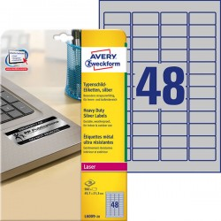 Etykiety znamionowe srebrne Avery Zweckform A4, 20 ark./op., 45,7 x 21,2 mm, poliestrowe