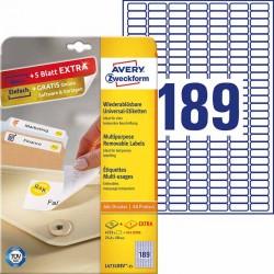 Usuwalne etykiety uniwersalne Avery Zweckform A4, 30 ark./op., 25,4 x 10 mm, białe