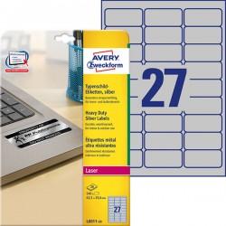 Etykiety znamionowe srebrne Avery Zweckform A4, 20 ark./op., 63,5 x 29,6 mm, poliestrowe