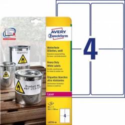 Etykiety Heavy Duty Avery Zweckform A4, 20 ark./op., 99,1 x 139 mm, białe, poliestrowe
