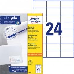 Trwałe etykiety uniwersalne Avery Zweckform A4, 100 ark./op., 70 x 36 mm, białe