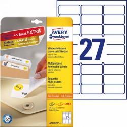 Usuwalne etykiety uniwersalne Avery Zweckform A4, 30 ark./op., 63,5 x 29,6 mm, białe