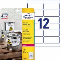 Etykiety Heavy Duty Avery Zweckform A4, 20 ark./op., 99,1 x 42,3 mm, białe, poliestrowe