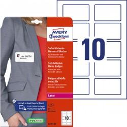 Samoprzylepne identyfikatory do zadruku Avery Zweckform A4, 20 ark./op., 80 x 50 mm, białe, sztuczny jedwab