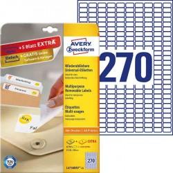 Usuwalne etykiety uniwersalne Avery Zweckform A4, 30 ark./op., 17,8 x 10 mm, białe