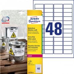 Etykiety Heavy Duty Avery Zweckform A4, 20 ark./op., 45,7 x 21,2 mm, białe, poliestrowe