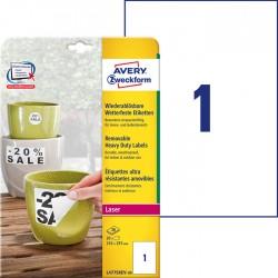 Etykiety Heavy Duty Avery Zweckform A4, 20 ark./op., 210 x 297 mm, białe, poliestrowe -USUWALNE
