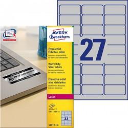 Etykiety znamionowe srebrne Avery Zweckform A4, 100 ark./op., 63,5 x 29,6 mm, poliestrowe
