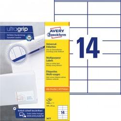 Trwałe etykiety uniwersalne Avery Zweckform A4, 100 ark./op., 105 x 41 mm, białe