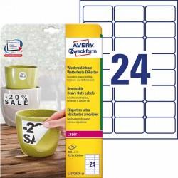 Etykiety Heavy Duty Avery Zweckform A4, 20 ark./op., 63,5 x 33,9 mm, białe, poliestrowe - USUWALNE