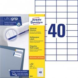 Trwałe etykiety uniwersalne Avery Zweckform A4, 100 ark./op., 52,5 x 29,7 mm, białe
